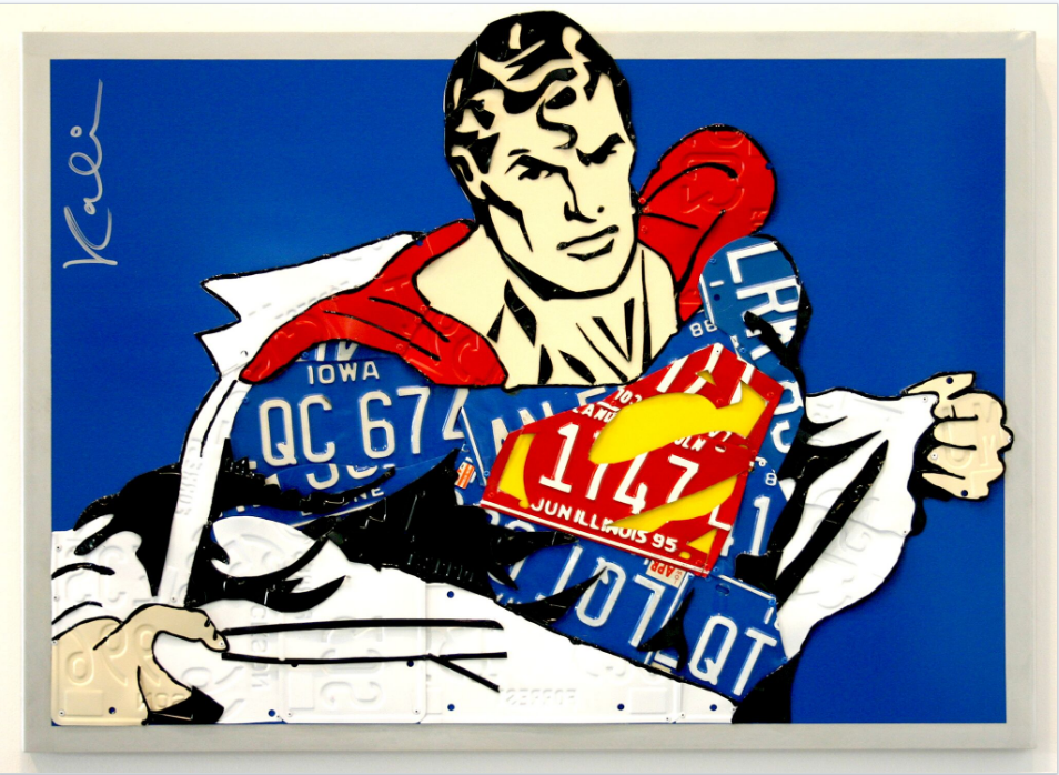 "Superman   License Plates and Painted Aluminum  42"" x 27"""