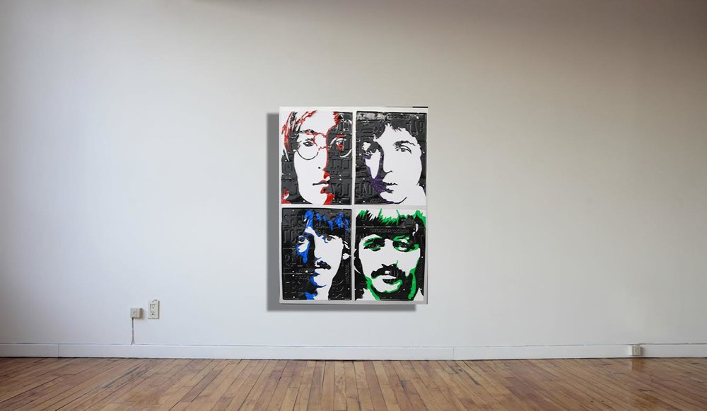 "Beatles   License Plate and Painted Aluminum  42"" x 42"""