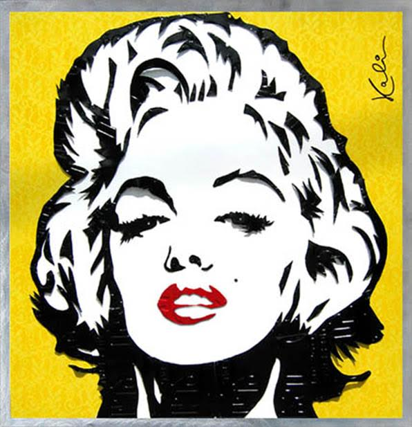 "Marilyn - State 1   License Plates and Lace Watermark   42"" x 42"""
