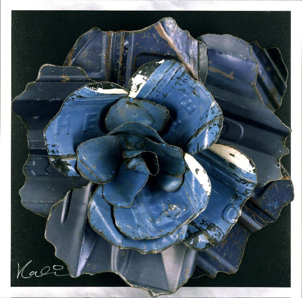 "Rose on Black  Reclaimed Auto Parts and Painted Aluminum  42"" x 42"" x 8"""