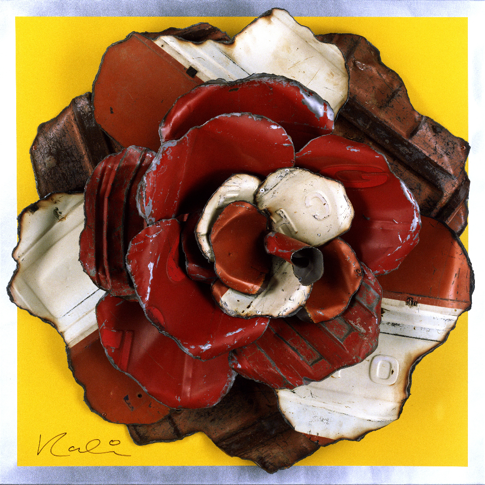 "Rose on Yellow  Reclaimed Auto Parts and Painted Aluminum  42"" x 42"" x 8"""