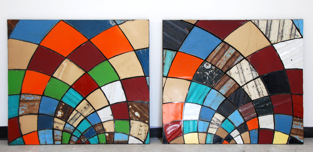 "Vintage Stained Glass Window Dyptych  Reclaimed Auto Parts and Brushed Steel  45"" x 45"" (Each)"
