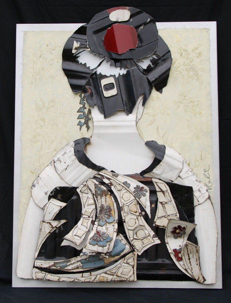 "Geisha   Reclaimed Auto Parts and Vintage Wallpaper on Aluminum  60"" x 40"""