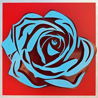 Rose - Blue on Red  32 x32""