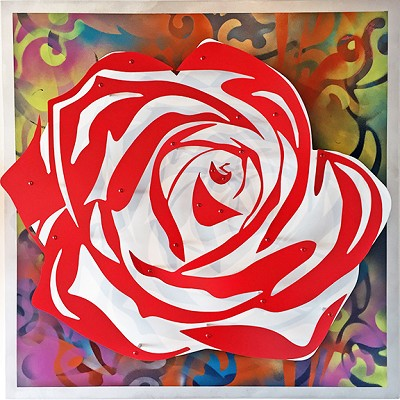 Rose - Red on Multi  32 x32""