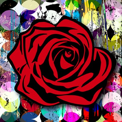 Circle Grafitti Rose  48 x 48""