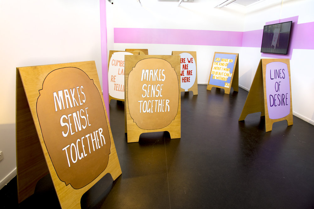 Makes sense together, installation view, Peacock Gallery, Auburn. Photo by Garry Trinh