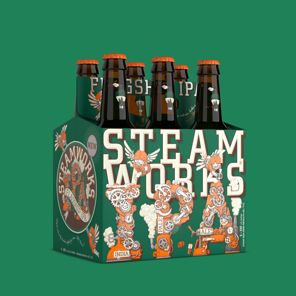 Steamwork's Flagship IPA bottle shot by Outshinery