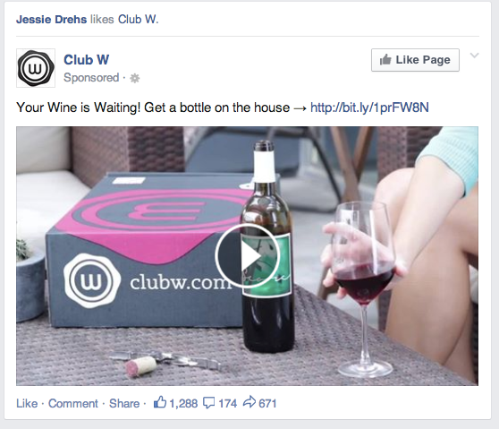 Facebook ad sample for Club W