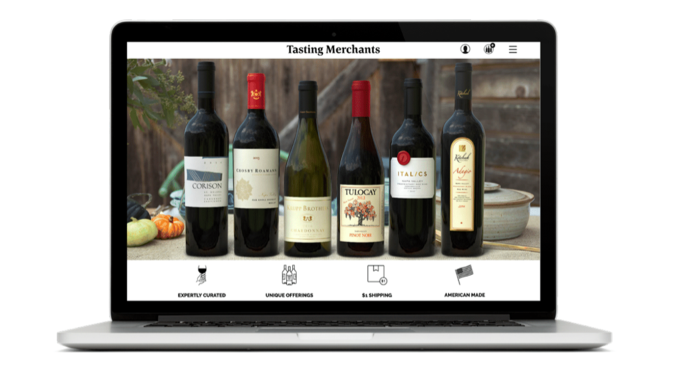 Tasting Merchants leverages the power of in-context photography with their homepage hero image.
