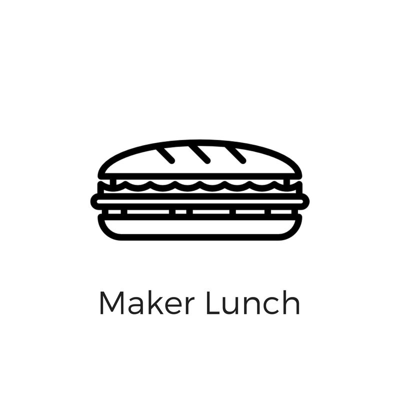 Once a month, we host a Maker Lunch for the maker community to network. Click here to RSVP for our next lunch.