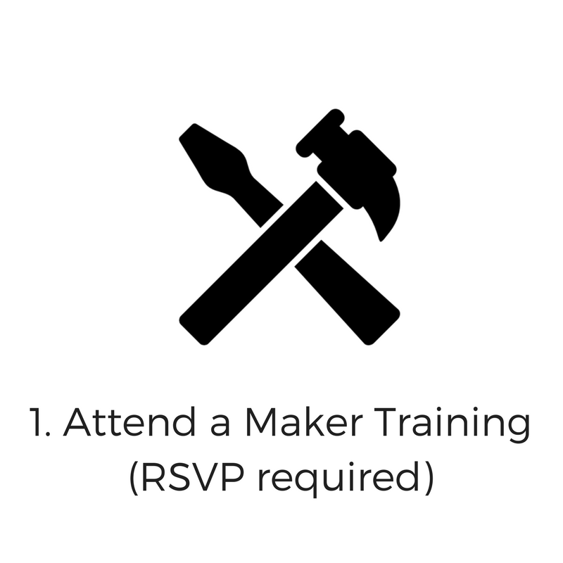 The Maker Training Workshops are Thursday's  from 5:00-6:00 p.m. Spaces are limited in the Maker Trainings. RSVP to reserve your spot.