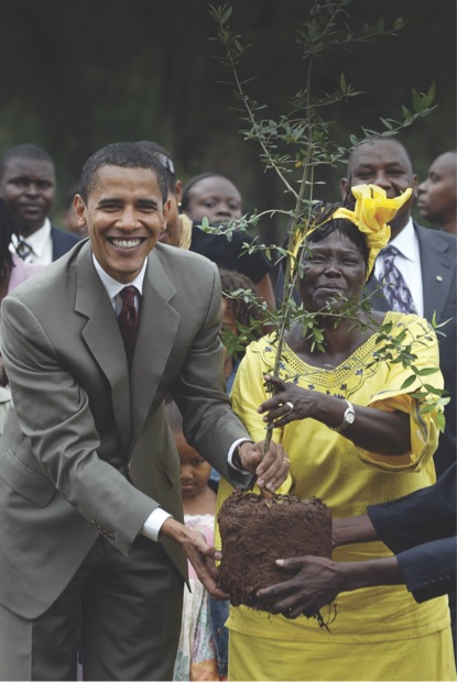 President Obama   and   Wangari Maathai  , the founder of the GreenBelt Movement and Nobel Peace Prize Laureate