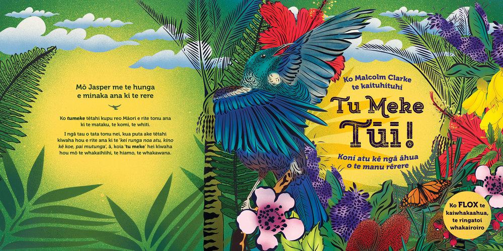 Tu Meke Tūī!  Malcolm Clarke, illustrated by Hayley King (AKA Flox), translated by Evelyn Tobin (Little Love/Mary Egan Publishing)