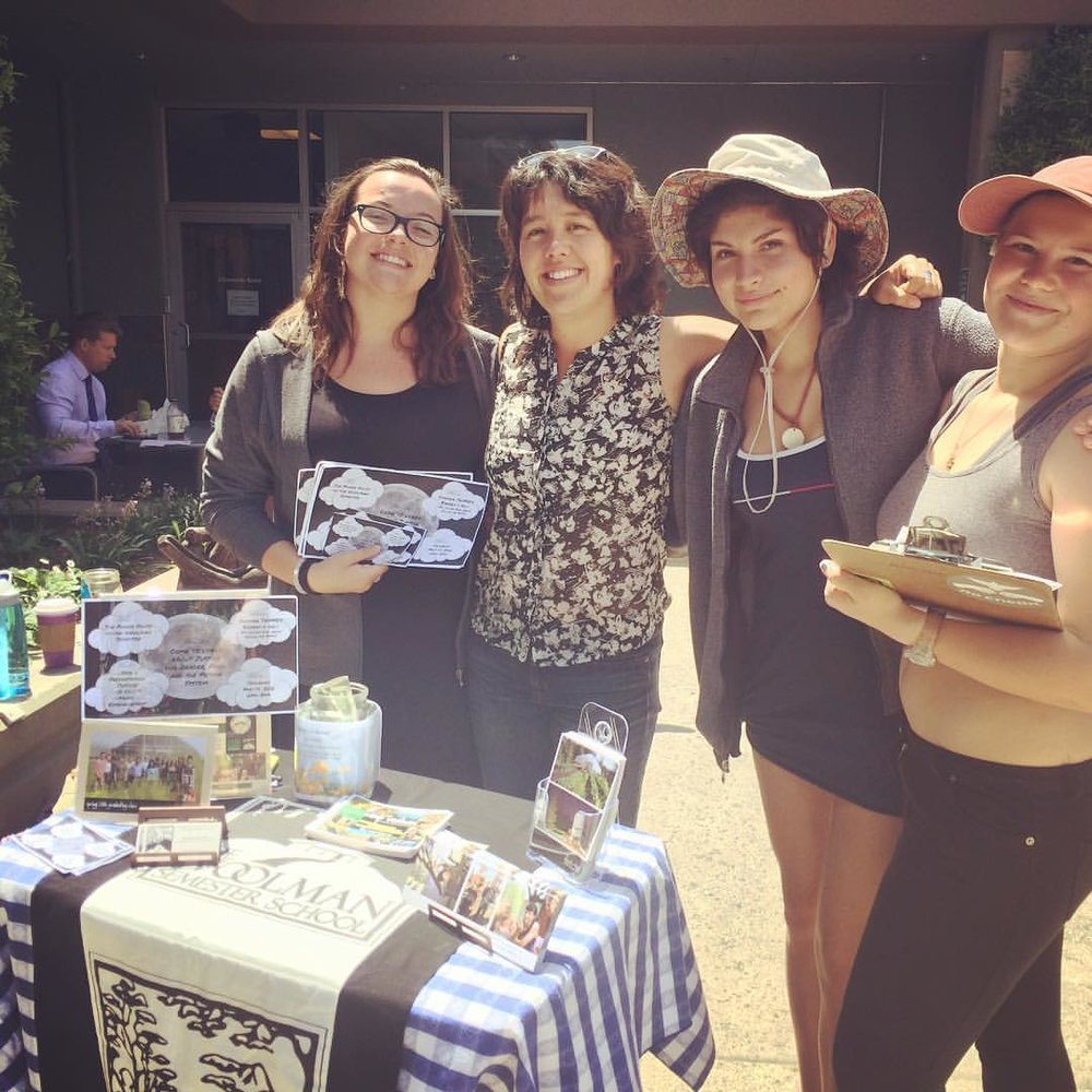 "5/12/16 - Getting the word out about ""A Night of Justice"" in Grass Valley, CA: a student led and organized evening of  poetry, music, art, skits, info booths, resources and conversations about Gender, Food and Prison  Justice ."