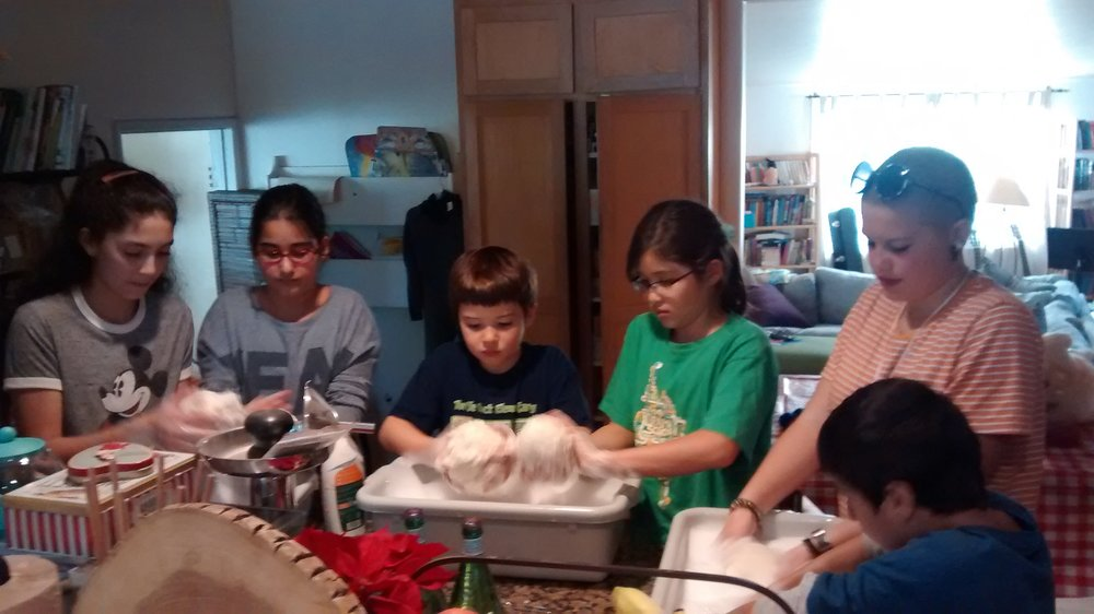 Making eco-friendly wool dryer balls with 4-H Mesa Goathill Go-getters