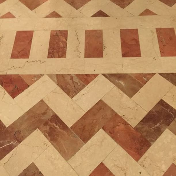 """The floor in the """"room of the Popes"""" Santa Maria Maggiore, Rome. Botticino and Roso Verona."""