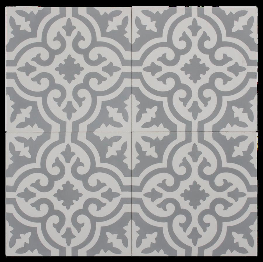 Grey & White Flower Pattern