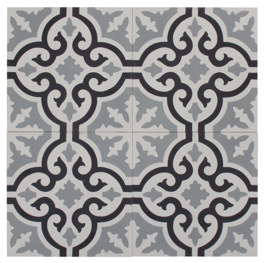 Black, Grey & White Flower Pattern
