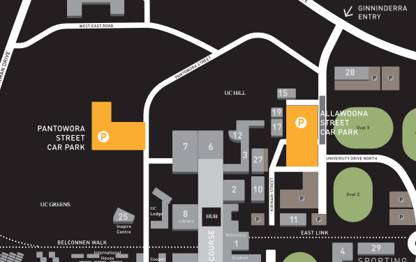 Casual Parking Available Near the Training Venue (Parking highlighted in Orange)