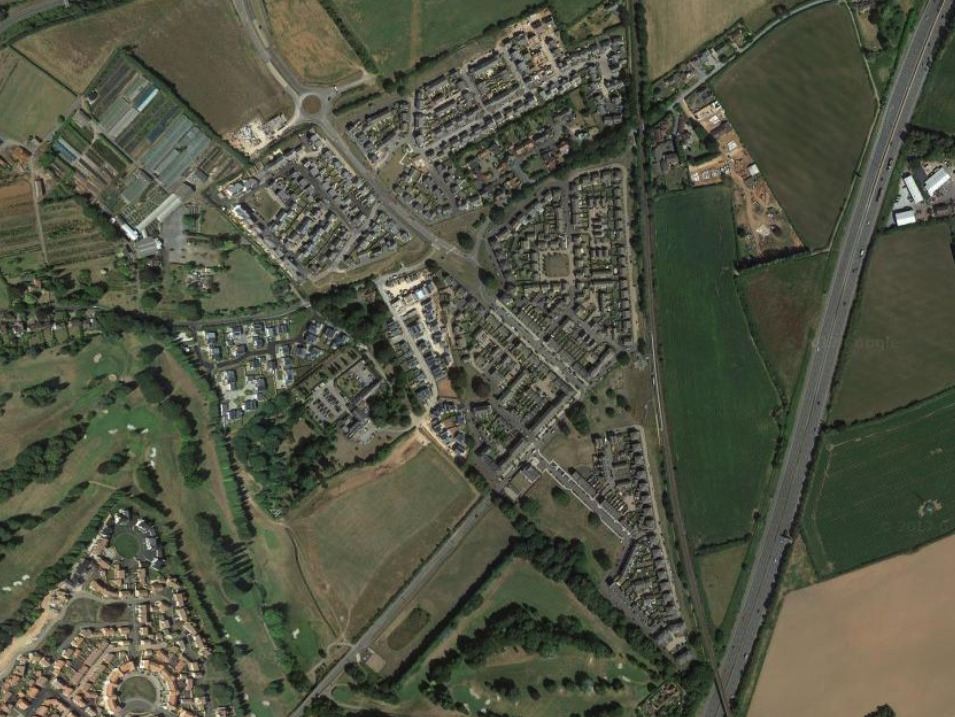 2017 - the area as it is at the time of writing:a new residential commuter developmentthat has sprawled beyond the bounds of the original siteit even has its own train station