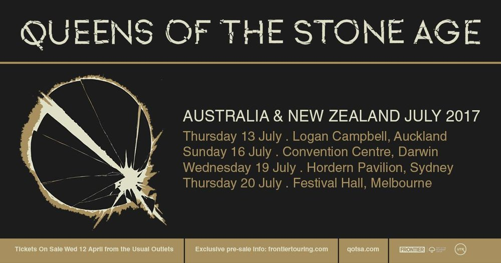 QUEENS OF THE STONE AGE - Arguably the most powerful and critically acclaimed hard rock band of the last two decades: Queens Of The Stone Age will return to Australia and New Zealand in July 2017 for Frontier Touring, performing four visceral headline shows.