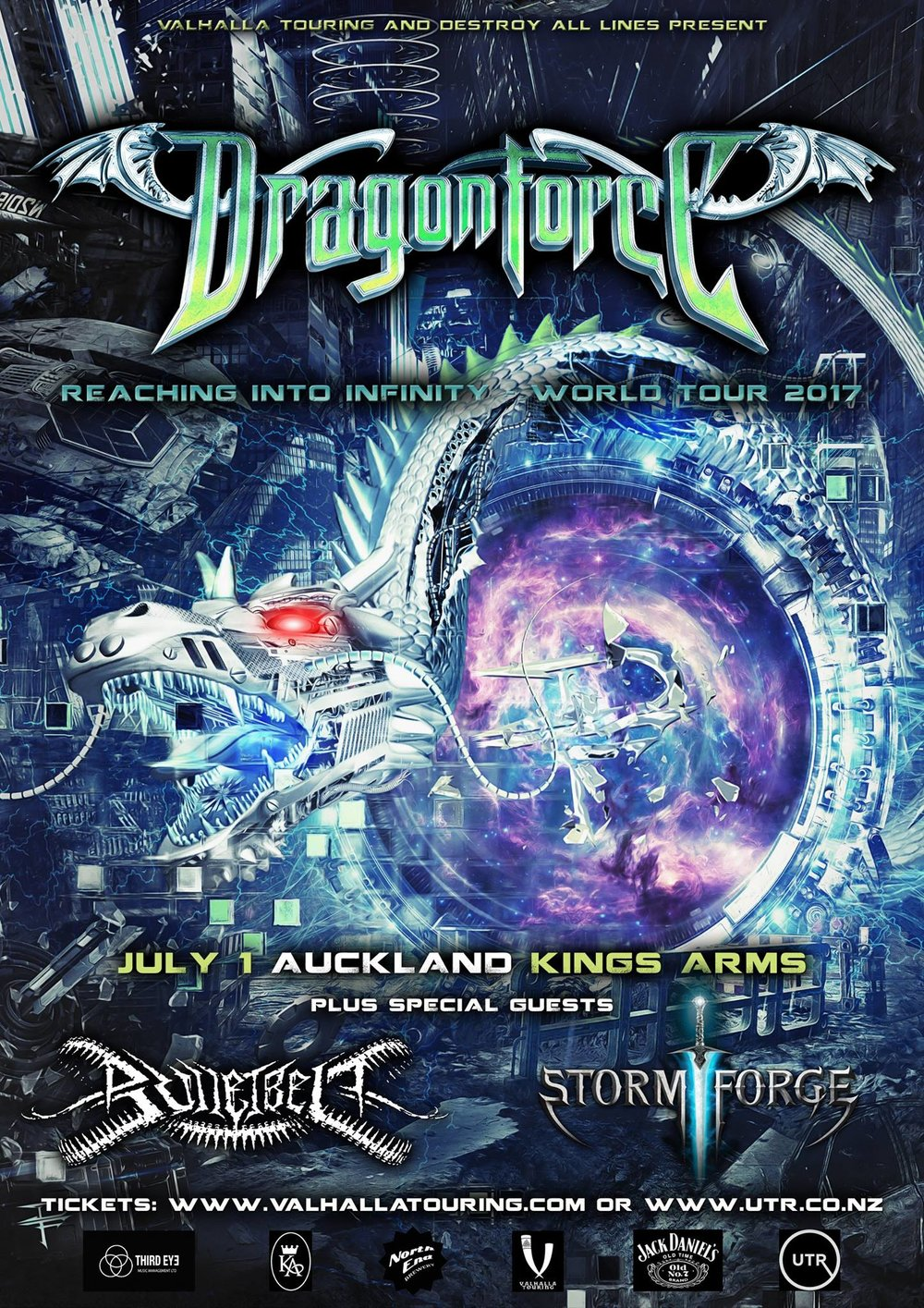 DRAGONFORCE - International metal superstars and power metal speed legends DRAGONFORCE have revealed that they will be touring New Zealand as part of their Reaching Into Infinity World Tour.