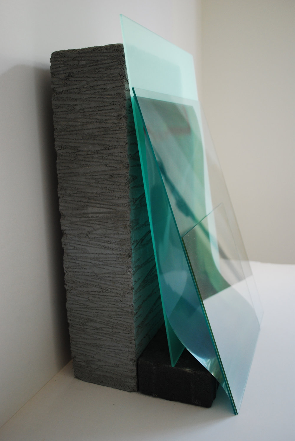 Holly Rowan Hesson, Fluid, 2015, concrete block, photograph on acetate, perspex, glass, brick, 31 x 47 x 27cm