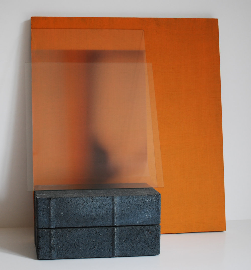 Holly Rowan Hesson,  Grounded , 2015, plywood, photograph on acetate, bricks, glass, 37 x 41 x 20cm