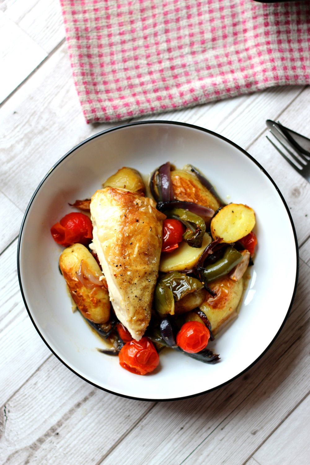 Butterflied chicken tray bake with roasted vegetables by Limahl Asmall