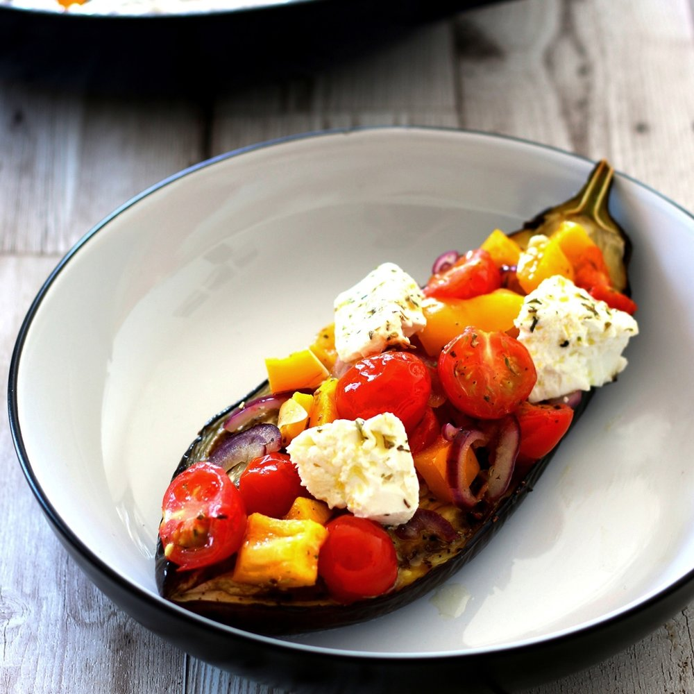 Mediterranean stuffed aubergine with feta by Limahl Asmall