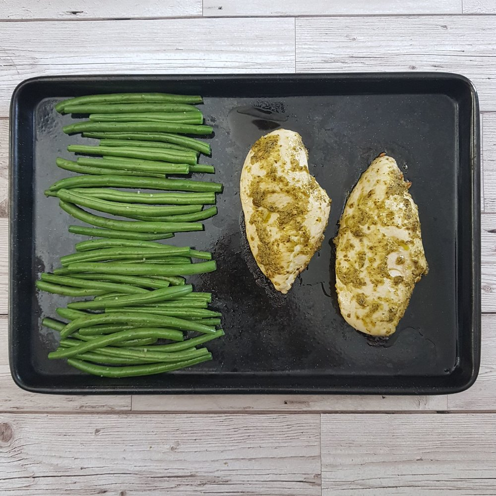 Once the 10 minutes are up, add the green beans to the tray