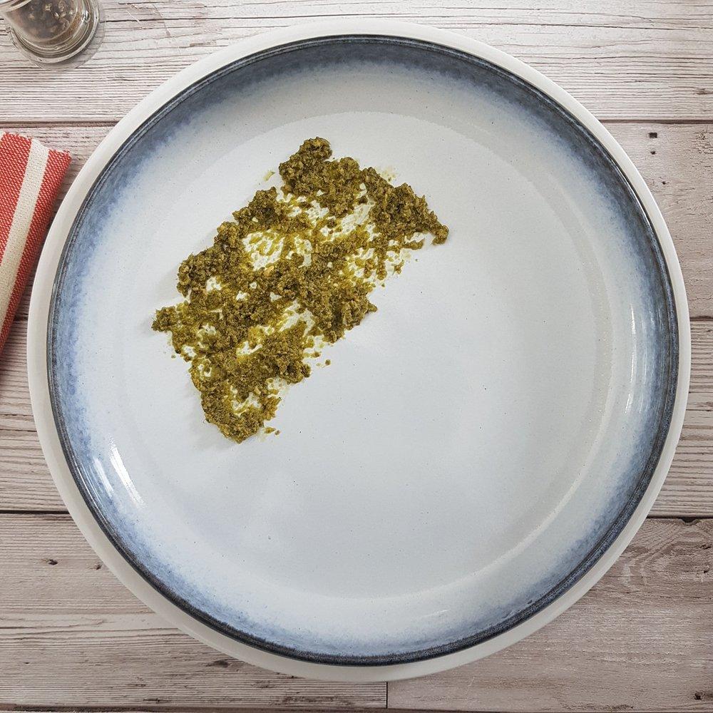 Add a tbsp pesto to each plate