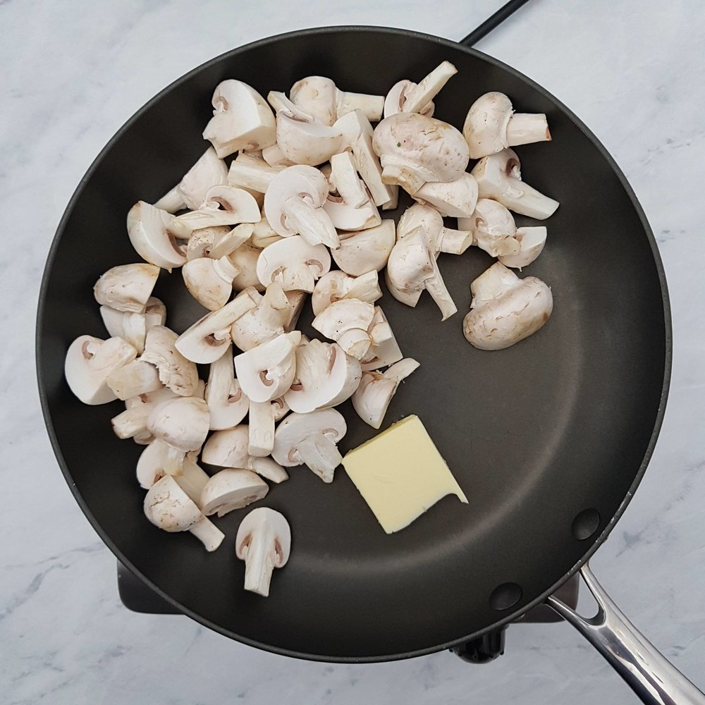Melt the butter over a medium heat in a non-stick frying pan and add the mushrooms.