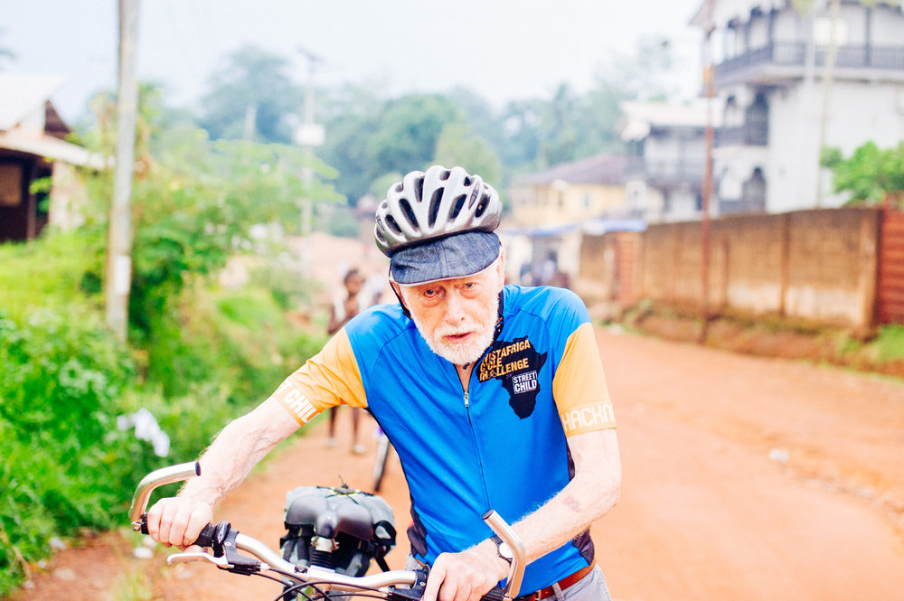 This is the amazing George our oldest cyclist