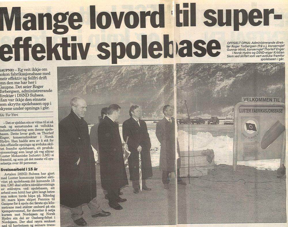 1997 - Nye eigarar i 1997: West Industri Service AS (47%), DSND Subsea AS (34%), Luster Kommune/Luster Sparebank (7%) og LMI Ansattes aksjestiftelse (12% ).DSND Subsea AS etablerte Luster Fabrikasjonsbase i 1997. DSND Subsea AS ble oppkjøpt av Subsea 7 som fortsatte å drifte basen fram til 2007.