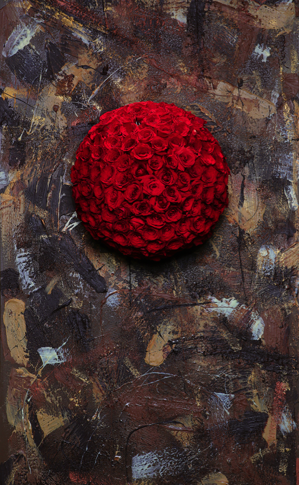 Rose Ball on a Real Chocolate Wall