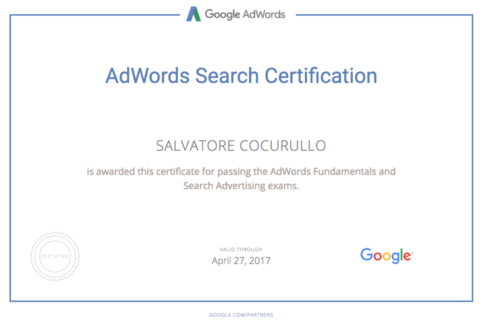 Certificazione-adwords-search-Cocurullo-Salvatore clickadvisor