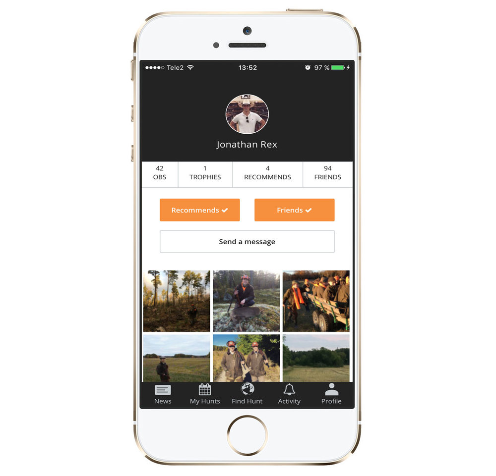 In your profile you will see your hunting statistics and your gallery of hunting images. Here you manage your friends, your hunting teams and your hunts. By recommending your friends you make it easier for them to come out and hunt with new hunting teams.