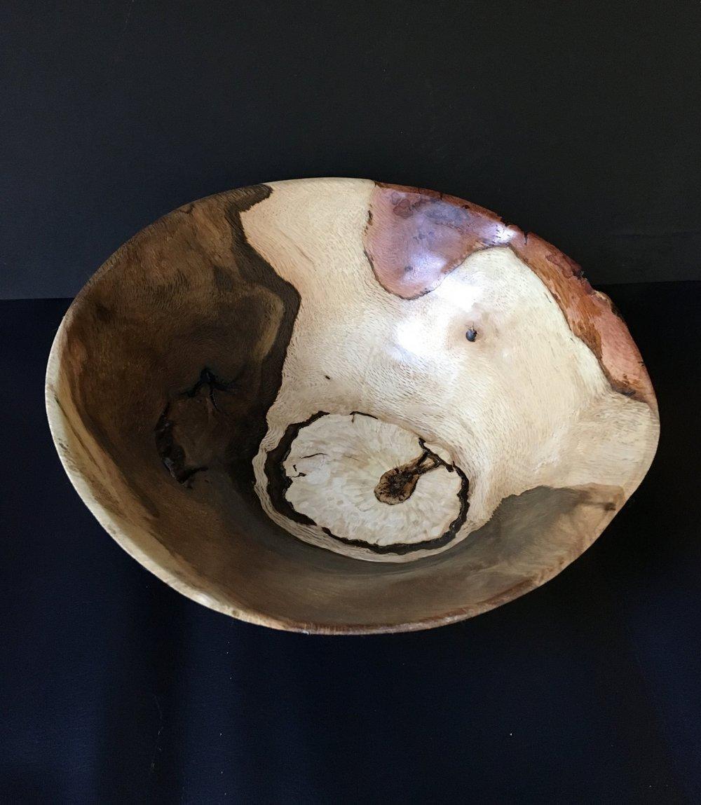 Warped oak burl bowl