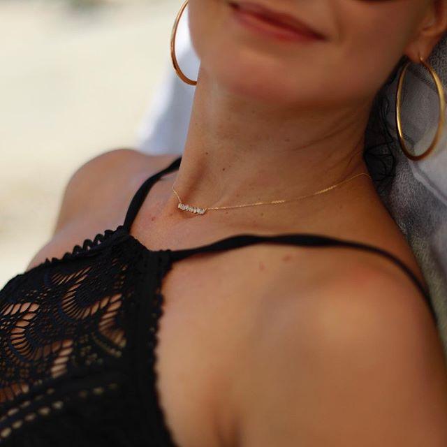 Sparkle like the sea...in a @suzannekalan baguette demi-necklace. ✨🌊