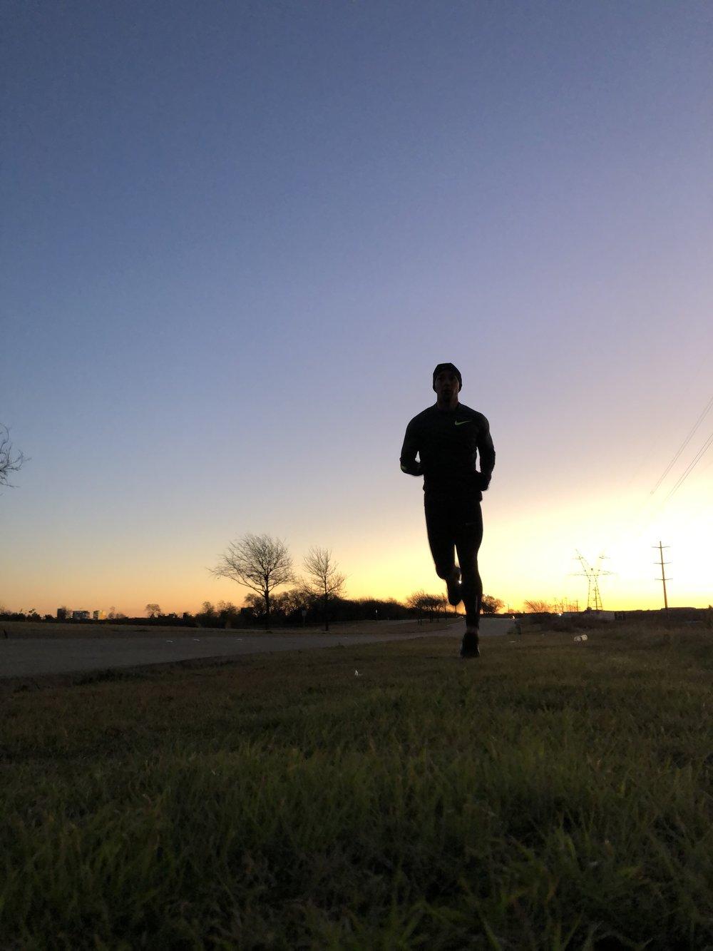 Morning Long run Marathon Training before the Sun comes up over Dallas, Texas