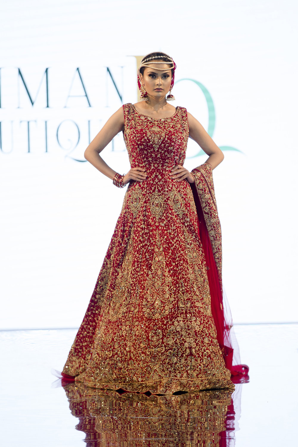 Model wears Iman Boutique by Mirza Miah on the catwalk at Bangladesh Fashion Week, London, UK - 07 Oct 2017