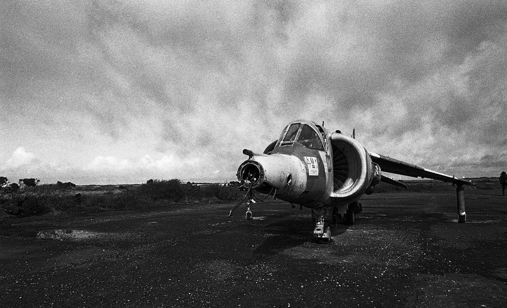 Exterior of a retired RAF Harrier GR3  Predannack has a varied history and opened in May 1941 as a satellite base for RAF Portreath. Today it is the satellite airfield for RNAS Culdrose, a restricted Ministry of Defence site and an active airfield used for flight deck training by the Royal Navy.