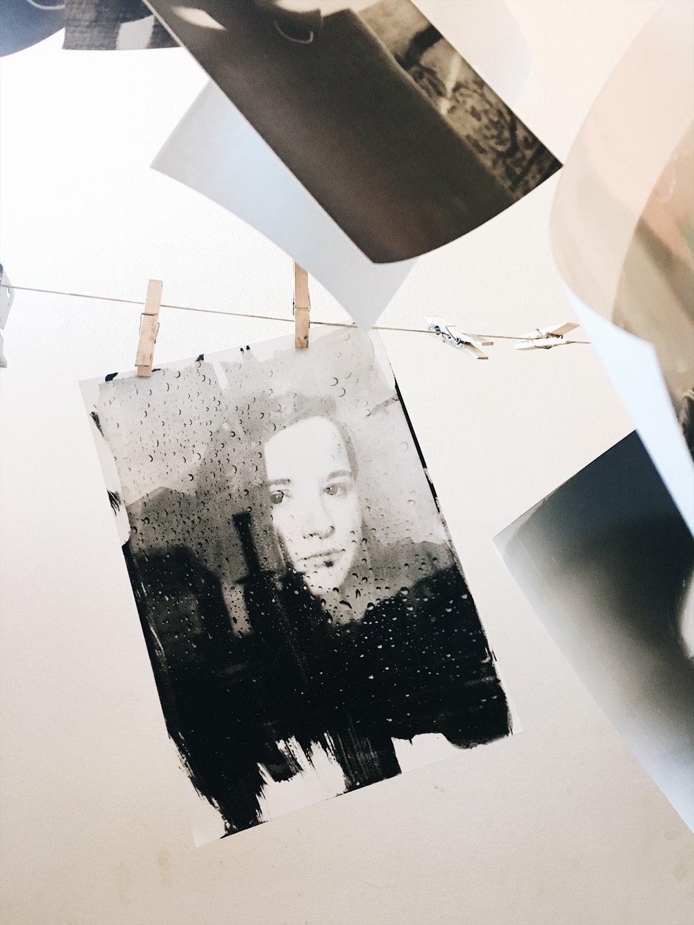 Drying my emulsion print in the studio