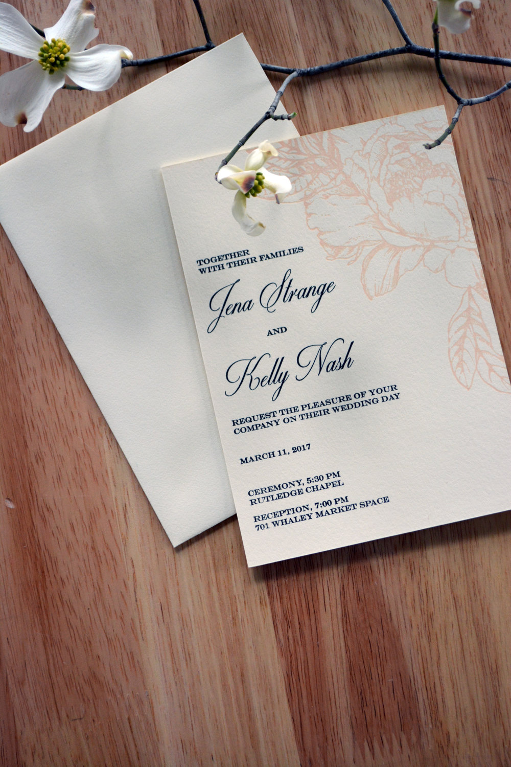 Jena & Kelly, 4-piece wedding invitation suite, 2 color letterpress printing on Crane's Lettra 220# DTC in ecru white