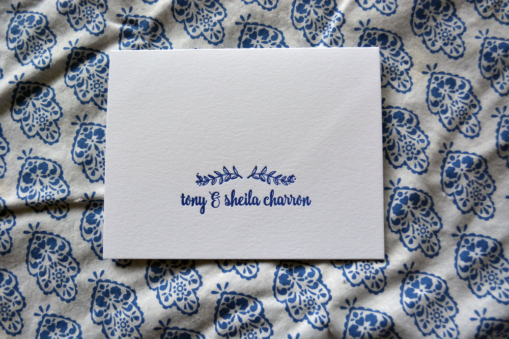 Sheila & Tony's personal stationery, letterpress printed on Crane's Lettra 110# Cover in Flourescent White