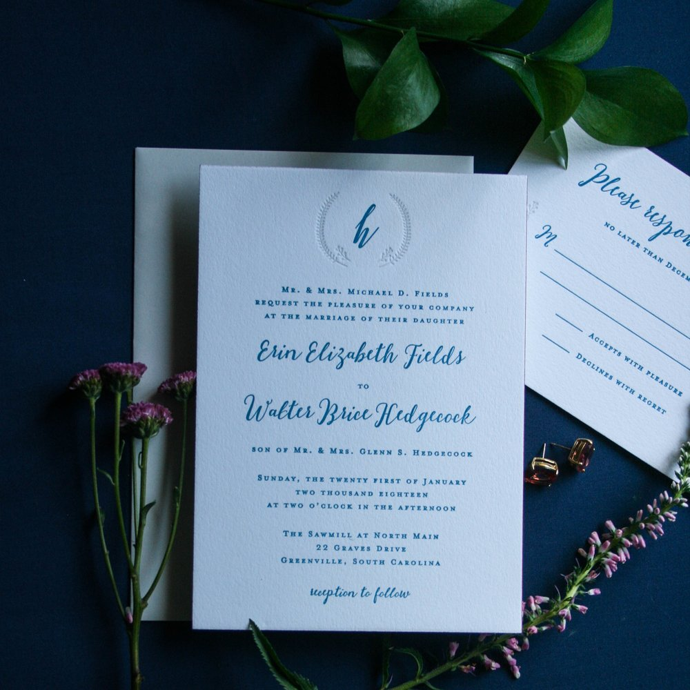 Erin & Brice, 4 piece invitation suite, 2 color letterpress printing on Crane's Lettra 220# DTC in flourescent white with Neenah envelopes in antique grey