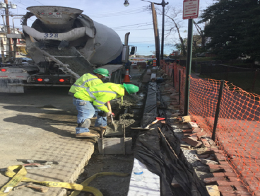 Concrete pour for brick gutter