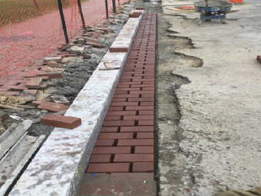 Installation of brick gutter